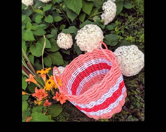 "Large - Handwoven ""blanket"" Basket - Coral / White / Red"