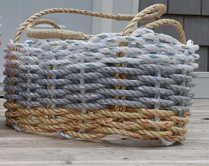 Hand Woven Market Basket Natural/ Grey and White