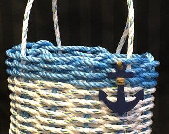Handwoven Highsided Rope Basket Ocean Blue / White
