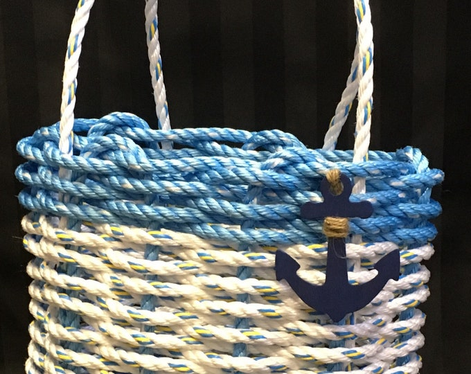Handwoven Highsided Rope Basket Ocean Blue / White