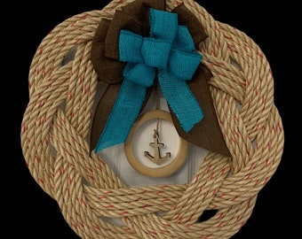 Handwoven Rope Wreath -hoop and Anchor