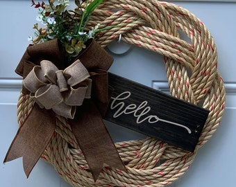 Handwoven Rope Wreath - Hello wooden Sign Decor