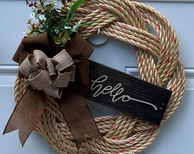Handwoven Rope Wreath - Hello wooden Sign Decor