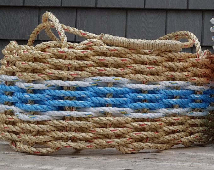 Large - Oval Market Basket - Natural / Ocean Blue / White