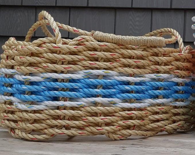 Hand Woven - Oval Market Basket - Natural / Ocean Blue / White