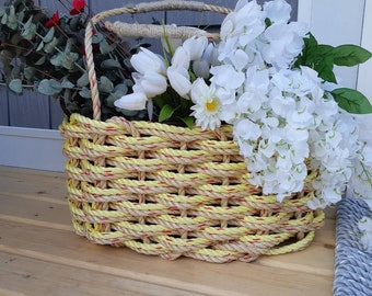 Large Oval Market Basket Natural/ Yellow