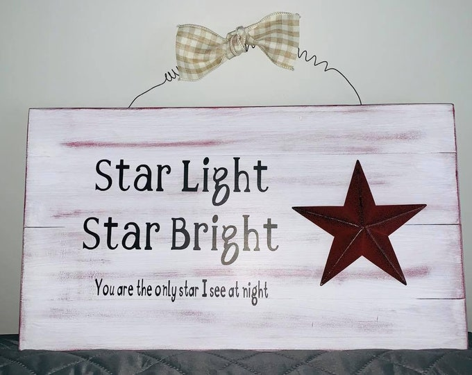 Wooden Wall Hanger-Start Light/ Star Bright