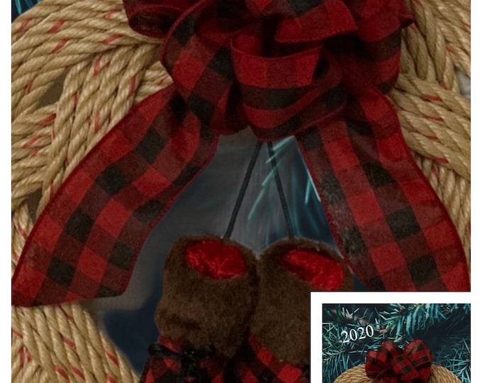 Handwoven Rope Wreath- Buffalo Plaid Ribbon and Boots