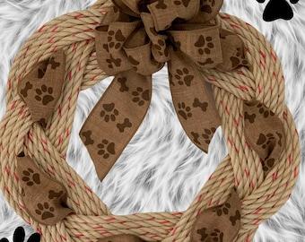 Handwoven Turks Knot Wreath-Paw Print