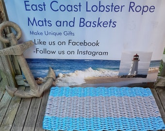 Handwoven Rope Mat - Ocean Blue / Wide Grey Stripe