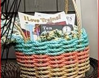 Handwoven Rope Market Basket- Aqua Coral and Natural