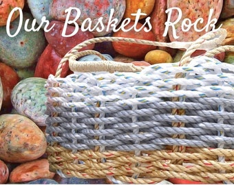 Hand Woven - Oval Market Basket - Natural / Grey / White
