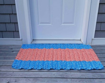 Handwoven Rope Mat - Ocean Blue \ Coral