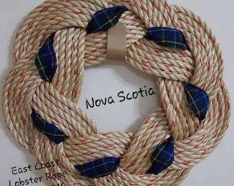 """Handwoven Turks Knot Wreath - NS Tartan - 7 Byte Appx 15"""""""