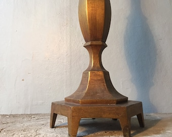 large, rustic and gold lamp