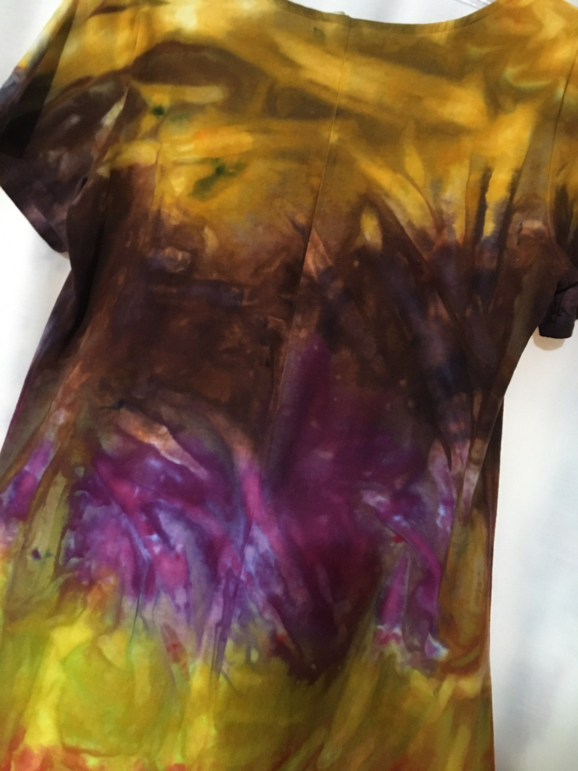Short Tie Dye Dress Cotton Jersey Knit  Medium
