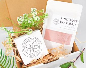 Australian Pink Rose Facial Set, Organic Face Mask & Soap