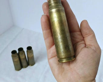 20mm Vulcan Cannon Brass Casing, One (1) Raw Dirty, Bullet Wedding Bouquet Holder, Jewelry Flower Vase, Large Bullet Shell, Range Case