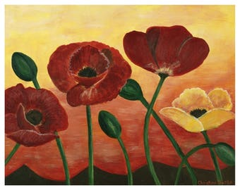 Poppies at Sunset Original Framed Painting