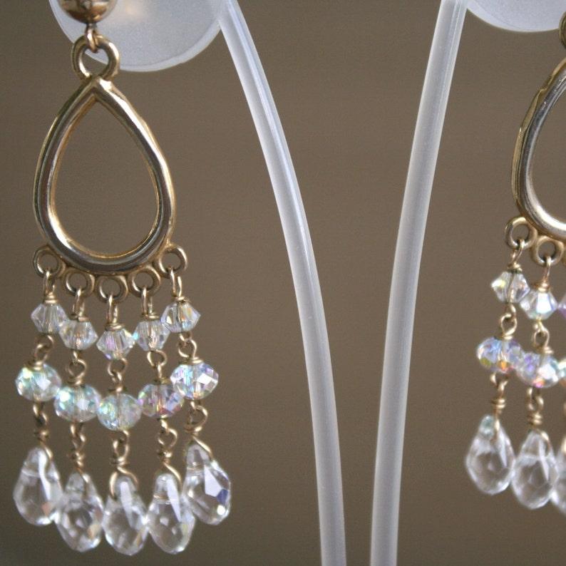 Dangling swarovski crystal clear teardrop  Bukharian ethnic chandelier  earrings  Ethnic earrings  Belly dancer oriental earrings
