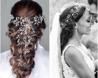 Wedding Headpiece Babys Breath Hair Piece Bridal Hair Vine