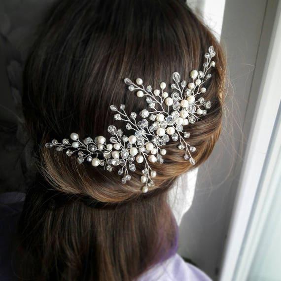 Bridal Silver Rhinestone Leaf Hair Clip Bridal Headpiece Bridal Hair Comb Silver Bridal Hairpiece Rhinstone Headpiece Lead Hairpiece