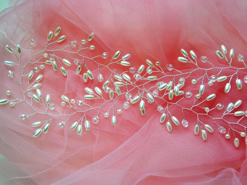 Wedding hair vine Pearl bridal headpiece long Wedding hair accessories Silver headband Baby breath hair piece Crystal halo Ornament Wreath