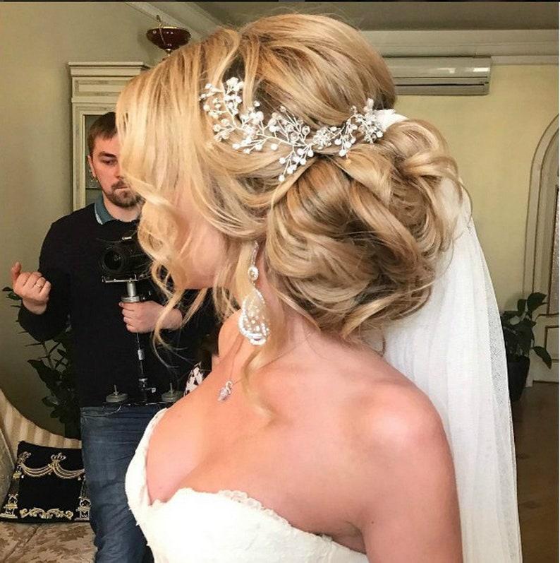 "Wedding hair piece Pearl and diamond bridal headpiece Pearl 30cm(11.81"") Other"
