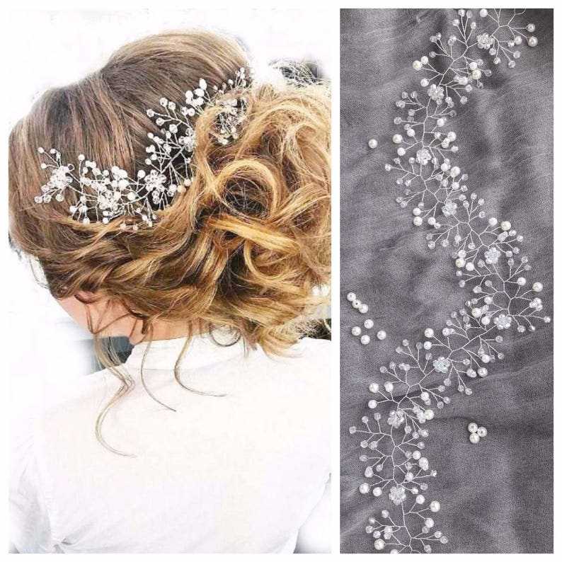 "Bridal hair vine long Wedding headpiece Crystal back hair 30cm(11.81"")"