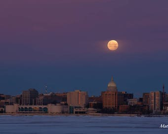 Madison, WI - Wrapped Canvas Print Art - Supermoon Full Moon over Monona Terrace and State Capitol Building - Wisconsin Lake Photography