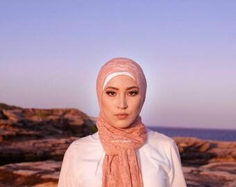 Lace Stretchy Floral Print Headscarf Muslim Hijab Shawl Scarf 60 x 180cm