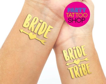 Gold Temporary tattoos for your hen do, Hen's party, hen party, stagette, Europe wedding, Ships from Europe!