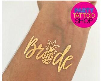 Pineapple Bride, bachelorette tattoos, bachelorette party tattoos, bachelorette tattoo, bridesmaid gifts, gold foil tattoos, hen do