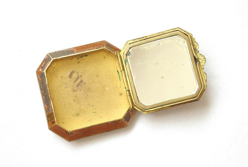 Antique Celluloid Compact Powder with Mirror Art Deco