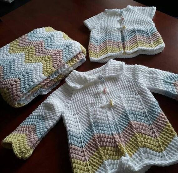 Tunesischen Häkeln Baby Jecket Weste Decke Set Zickzack Etsy