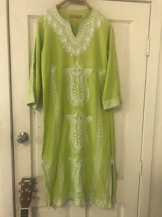 Embroidery Lime Green Dress/ 100% Cotton/ Made in