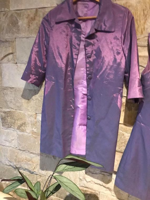 1960's Vintage Metallic Purple 2 Piece Set/ Power… - image 6