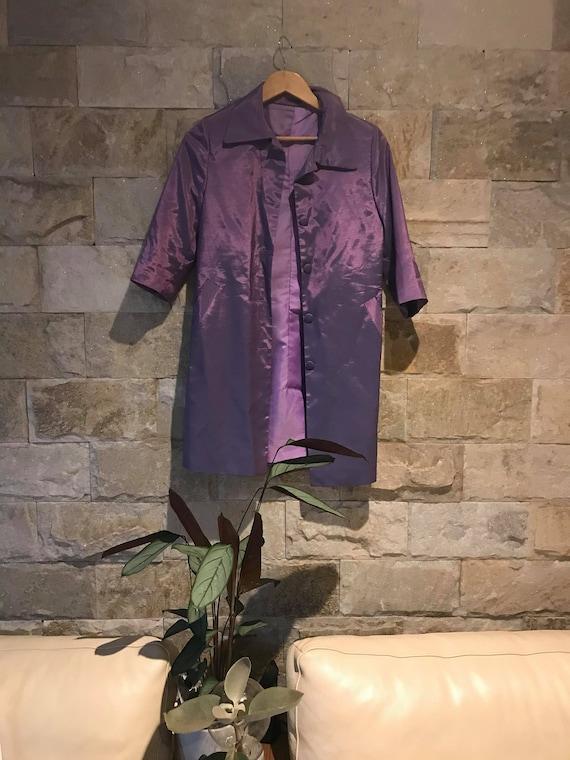 1960's Vintage Metallic Purple 2 Piece Set/ Power… - image 9