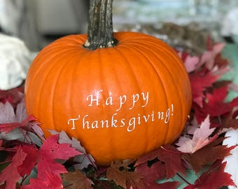 Happy Thanksgiving Pumpkin Decal