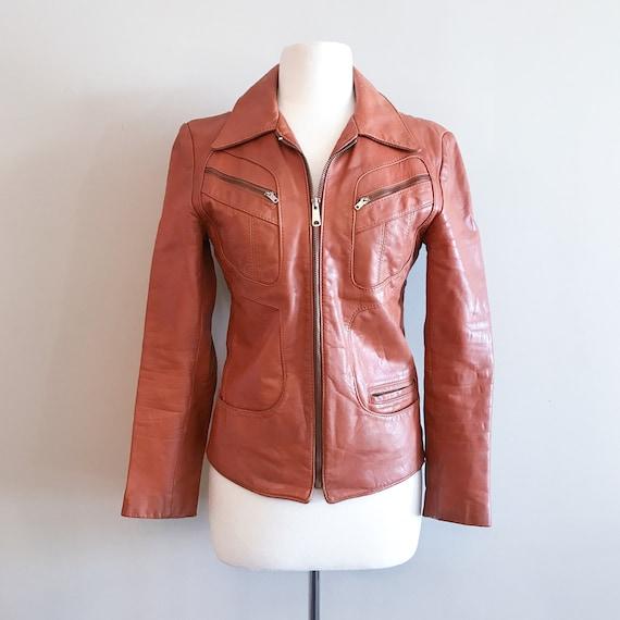 Vintage Leather. Burnt Orange 1970's Distressed Z… - image 2
