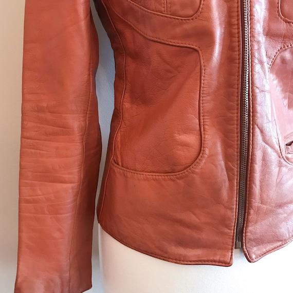 Vintage Leather. Burnt Orange 1970's Distressed Z… - image 5