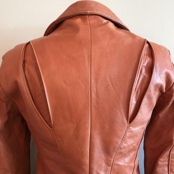 Vintage Leather. Burnt Orange 1970's Distressed Z… - image 8