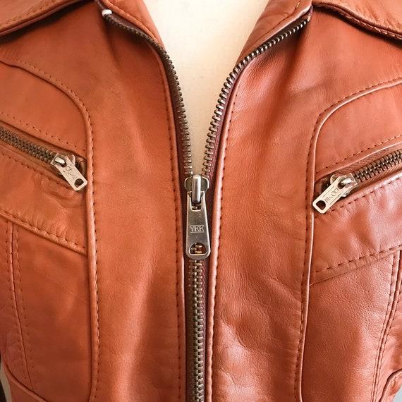 Vintage Leather. Burnt Orange 1970's Distressed Z… - image 4