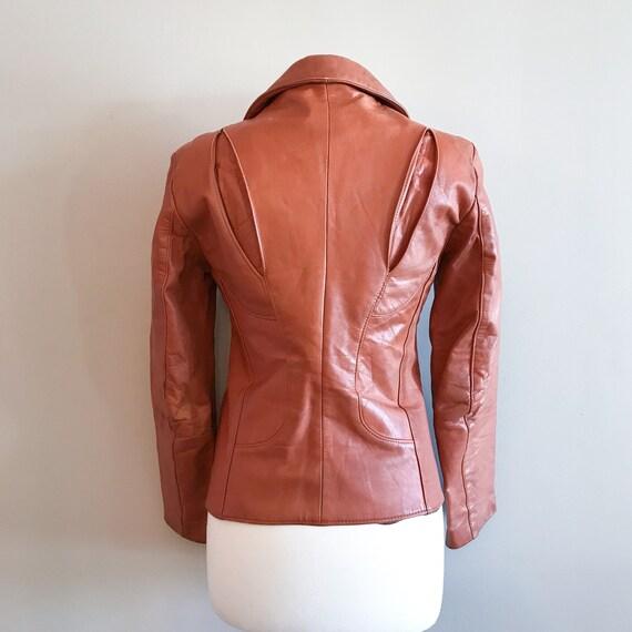 Vintage Leather. Burnt Orange 1970's Distressed Z… - image 7
