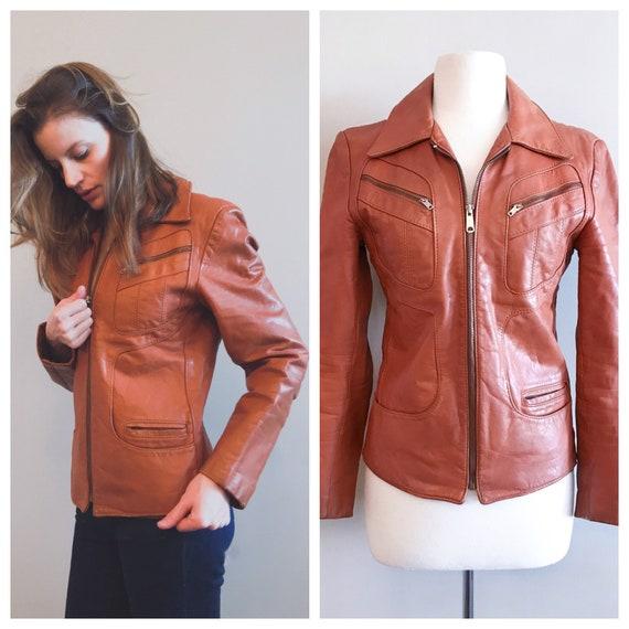 Vintage Leather. Burnt Orange 1970's Distressed Z… - image 9