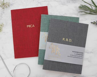 Personalised notebook foil-blocked in gold // handbound in 12 coloured bookcloths