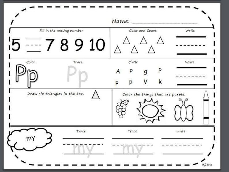 Kindergarten Morning Worksheets Free