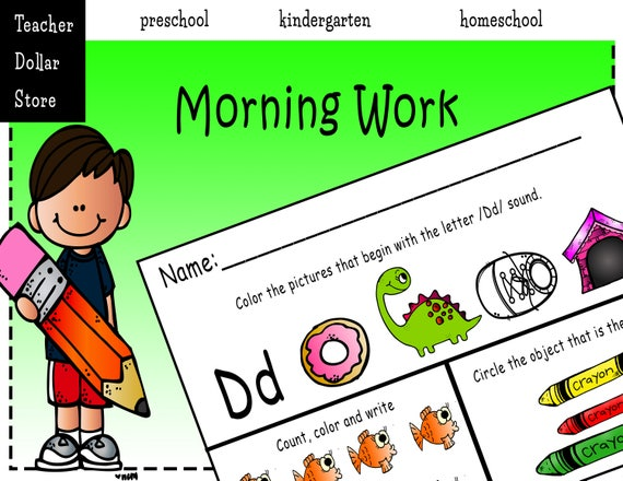 Worksheets: Morning Work For Preschool Kindergarten And Etsy
