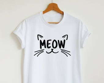 MEOW T-shirt, cute cat shirt, unisex women's graphic tee, funny cat lover gift shirt, hipster meow t shirt