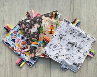 Crinkle sheet, taggy, tag toy, crinkle paper, sensory blanket, sensory ribbon, rustle blanket, lovelilmo